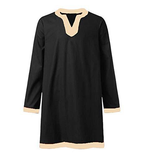 Herren Baumwoll Renaissance Long Shirt Tops Mittelalter V-Ausschnitt Tunika - Leichte Herren Renaissance Kostüm