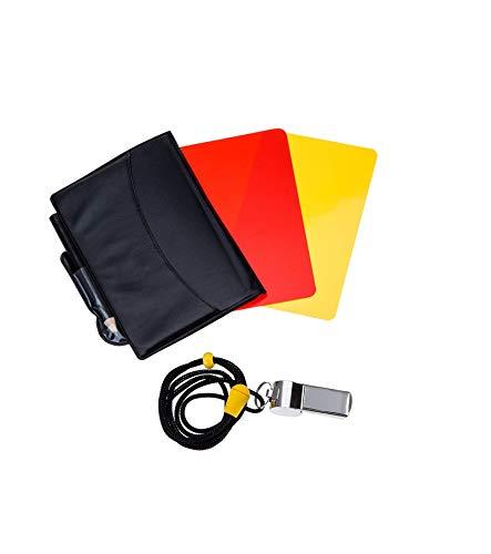 LEEQ Sports Schiedsrichterkarte Set Rote Karte Gelbe Karte und Metall Schiedsrichterpfeife Coach Pfeife für Fußball Fußball -