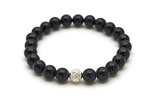 Onyx Armband - Echtes Perlenarmband mit Naturstein und 925 Sterling Silberperle - BERGERLIN Feel Goods