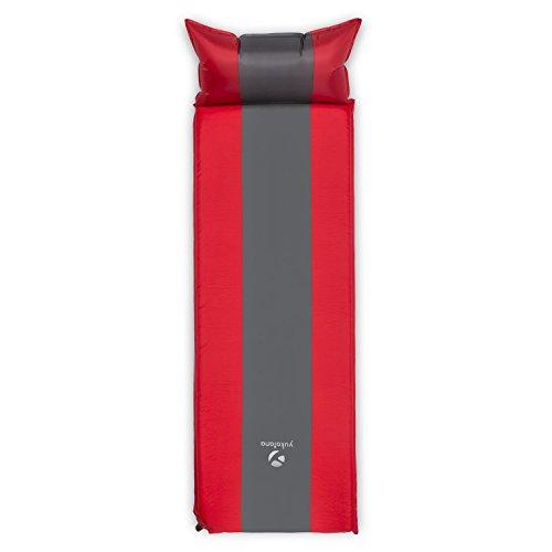 Yukatana Goodsleep 5 selbstaufblasbare Camping Luftmatratze Isomatte mit Kopfkissen (200 x 60cm inkl. Kopfteil, 5cm dick, selbstaufblasend, kleines Packmaß) rot-grau