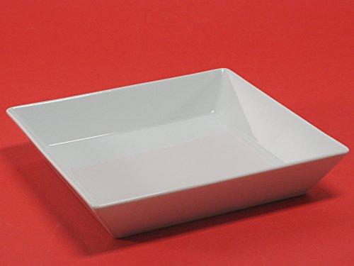 H & H Classic Assiette creuse carrée, 21,5 x 21,5 cm, porcelaine, blanc