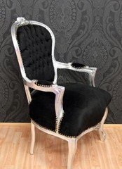 Casa Padrino Barock Salon Stuhl Schwarz/Silber