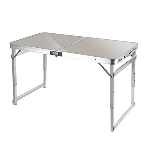 DWJ Draussen Klapptisch Höhenverstellbar Tragbar Faltbar Aluminiumlegierung Campingtisch Schreibtisch Tischarbeitsplatz, 120 * 60 * 70 cm (Color : Gray)