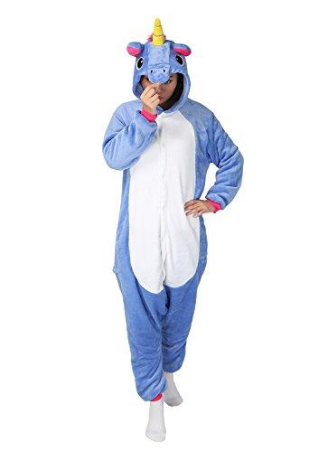 Einhorn Kostüm Pyjamas Tierkostüm Schlafanzug Verkleiden Cosplay Kostüm zum Karneval Fasching (L: für Höhe 168-177 cm, blau (Kostüm L Cosplay)