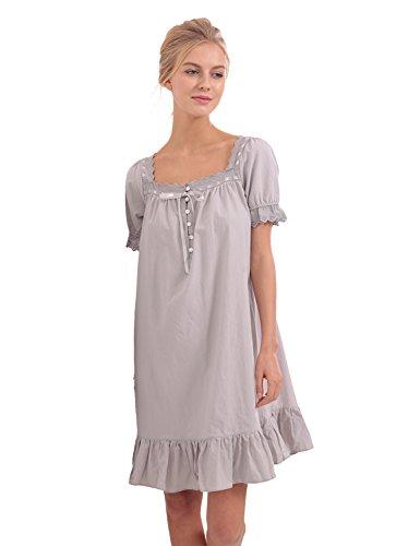Vintage-stil-bogen (BMJL Frauen gewebt Baumwolle Vintage kurze Hauchhülse viktorianischen Stil Nachthemd Schlaf Kleid)
