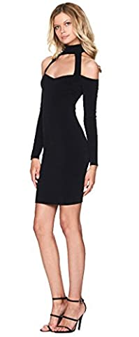 Longwu Long Sleeve Sexy Halter Strapless Bodycon Bandage Women's Party Dresses Black-L