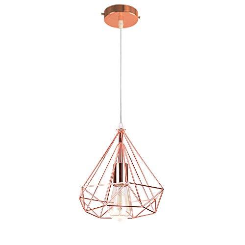 E27 Vintage Lustre Métal Suspension industrielle 25cm, Lampe de Plafond  Abat-Jour Luminaire sans housse Forme Diamant Décoration d\'éclairage pour  ...