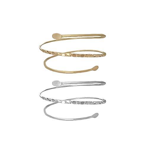 FENICAL Armarmband 2pcs einfacher justierbarer Armschmuck mit DREI Ringen für Frauenmädchen