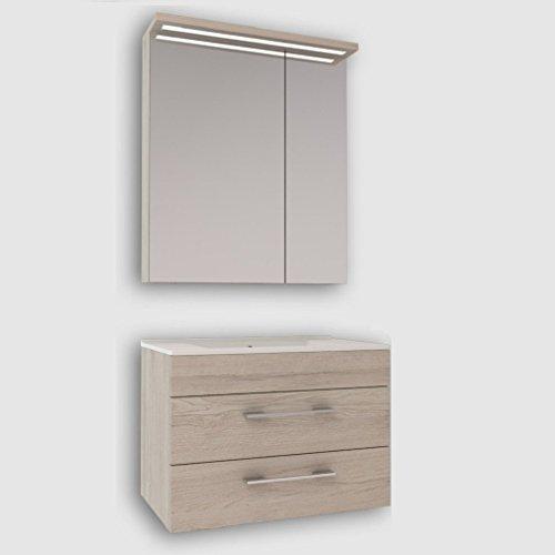 Badmöbel Set Creme Monaco Eiche Hellbraun mit Spiegelschrank und Waschtischunterschrank mit Waschbecken 75 cm / Badezimmer Möbel / 2 Teilig / mit Soft-Close-System und LED Beleuchtung