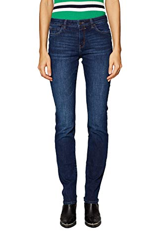 ESPRIT Damen Straight Jeans 019EE1B004, Blau (Blue Dark Wash 901), W27/L32