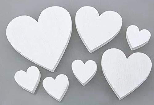 30 STK. Holzherzen Weiss Mix 2,5-6,5cm Tischdeko Herzen Holz Hochzeitsdeko Streuteile Holzherz Gäste Tischkarten Platzkarten Gastegschenke