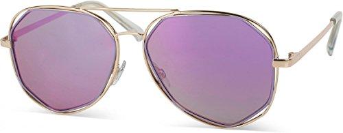 styleBREAKER Duochrome Effekt Sonnenbrille, Pilotenbrille mit eckigen Gläsern und Federscharnier,...