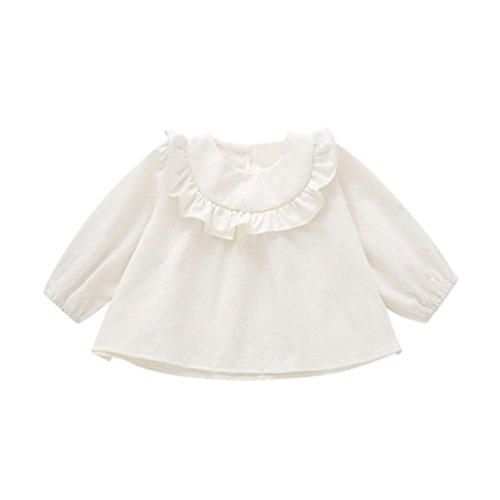 Luckycat Herbst und Winterkleidung für Kinder Baby Mädchen Langarm Solide Weiche Kleinkind Kinder Tops T-Shirt Warme Kleidung (Weiß, 12M--86cm)