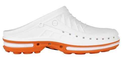 Clog-Chaussure professionnelle WOCK-Stérilisable; Antistatique; Antidérapante; Absorption des chocs Orange/Blanc