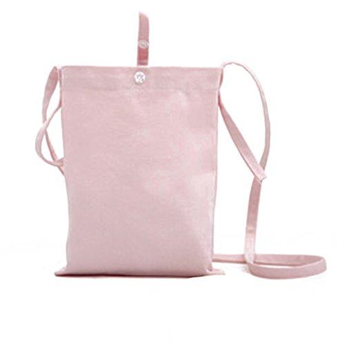 LUFA Handgemachtes Segeltuch Frauen Beutel Kurier kleines frisches Schulter Diagonalpaket Grau rosa