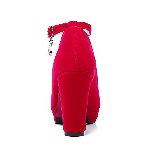 VogueZone009 Femme Rond Boucle Suédé Couleur Unie à Talon Haut Chaussures Légeres Rouge