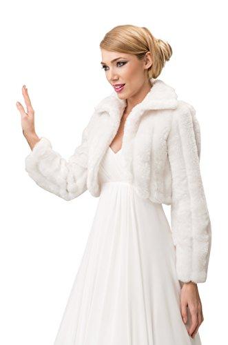 Chaqueta de piel de visón sintética para novia, tipo bolero, manga larga, con forro