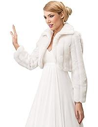 Boda piel sintética de visón chaqueta de novia Bolero capa de cuello manga larga Bolero completo con forro