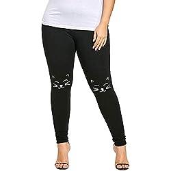 VPASS Mujer Pantalones, Pantalones de Talla Grande de Yoga elásticos Estampado de Gato Pantalones Leggings Deportes de Fitness Gym Pant Transpirables Largos Deportivos Push up Mallas