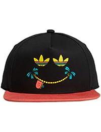 283bca40ae68c adidas Gorra Negra Smiles Visera Plana ROJA