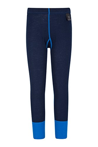Mountain Warehouse Merino Kinderhose Funktionsunterwäsche Thermohose Unterhose Skiunterwäsche Leggings Blau 152 (11-12 Jahre)