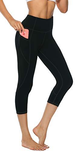 3/4 Capri Tight (Persit Sporthose Damen, 3/4 Yoga Leggings Laufhose Yogahose Sport Leggins Capri Tights für Damen Schwarz-XL)