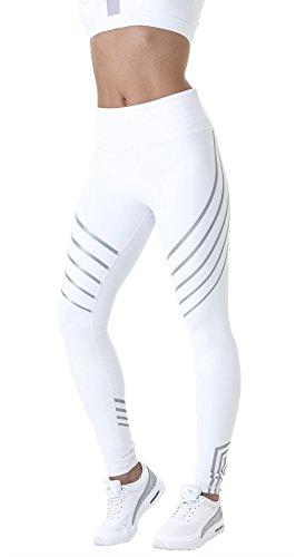 Morbuy Damen Leggings, Sport Gym Yoga Workout Pants Basic Fitness Hohe Taille Jogginghose Trainingshose Skinny Hosen Hose Sporthose (S, Weiß)