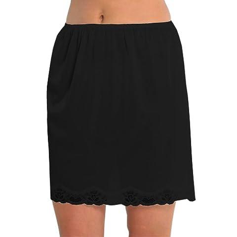 Femme/Jupon Sous Jupe Pour Mesdames Avec Bordure en Dentelle 100% Polyester Anti Adhérent, Longueur 18 Pouces (45 cms), Noir Taille UK 24/26