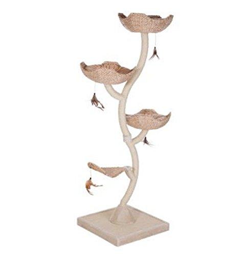 eCommerce Katzenbaum mit entfernbaren Kissen, Basisstockwerk mit Kratzmatte und mit Sisalstoff besetzten Metallsäulen