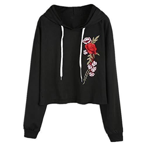 Yilvguang Bestickte Sweatshirts Solide Applique Langarm Frauen Pullover Hoodies (Color : Schwarz, Größe : L) (Applique Pullover)
