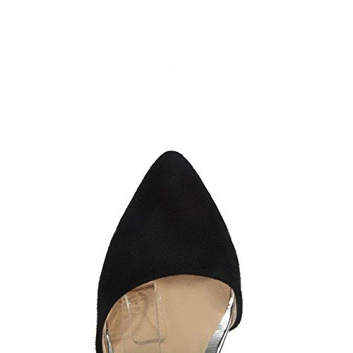 AllhqFashion Damen Pu Leder Mittler Absatz Spitz Zehe Gemischte Farbe Schnalle Pumps Schuhe Schwarz
