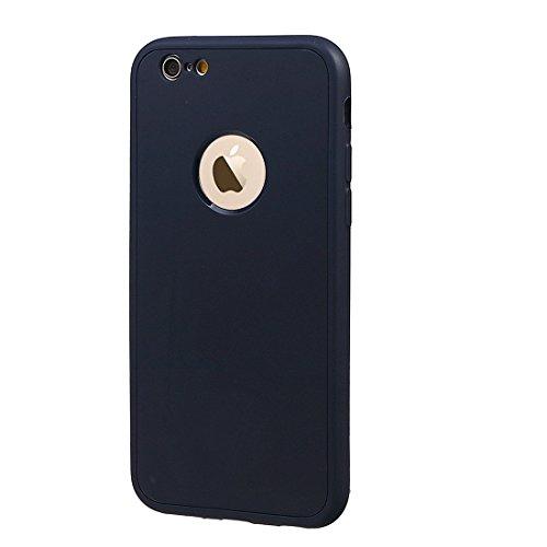 """xhorizon TM Stoßfeste weiche Schutzhülle aus 360 Grad ultradünner und zweischichtiger TPU für volle Deckung für iPhone 6 Plus / iPhone 6S Plus (5.5"""") mit einem 9H Ausgeglichen Glas Film tiefblau + 9H Tempered Glass Film"""