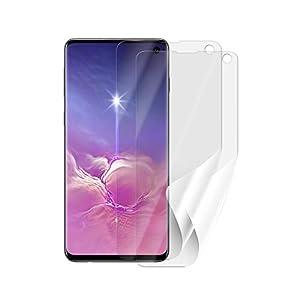 Screenshield Schutzfolie Samsung G973 Galaxy S10 [2 Stück, 2 Versionen] - volle Abdeckung des Displays bei Verwendung mit oder ohne Handyhülle; kein Panzerglas