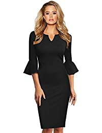 146dadcde5ee YesFashion Femme Robe Moulante avec Manches évasées Robe Cocktail Col ...