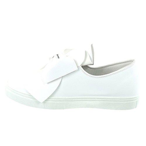 Angkorly - Scarpe da Moda Sneaker Tennis slip-on donna nodo a grana Tacco tacco piatto 2.5 CM Bianco