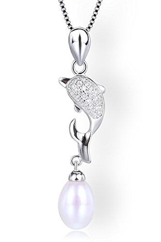 Startreasureland Collana con ciondolo in argento Sterling 925con perla coltivata d' acqua dolce 7mm a forma di pera