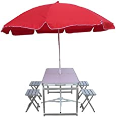 """""""Amaze"""" Folding Aluminium Picnic garden, outdoor, farm house, Restaurant, Ice cream parlour Compact Table with SEPARATE CHAIRS (Aluminium) Set With 8' Umbrella+Stand-WHITE - RED"""