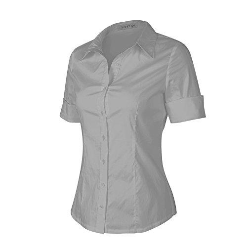 39ec8c6743d2 SUNNOW® Modisch Damen Shirt Kurzarm Revers Schlank Hemd Arbeit VAusschnitt  mit Knöpfe Casual Einfarbig Oberteil Bluse Sommer Grau