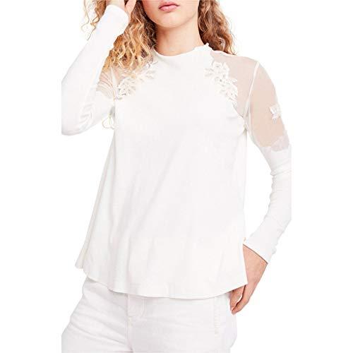 Overdose Blusa Donna Elegante Manica Lunga Camicetta Donna Elegante Taglie  Forti Maglietta Elegante Sexy Casual Tops e19960f6814