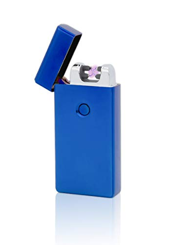 TESLA Lighter T09 Lichtbogen Feuerzeug, Plasma Double-Arc, elektronisch wiederaufladbar, aufladbar mit Strom per USB, ohne Gas und Benzin, mit Ladekabel, in Edler Geschenkverpackung, Blau