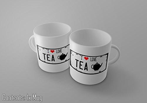I love TEE–Vintage Nummernschild Print 11Oz Tee/Kaffee Tasse–New (Zucker-print-tee)