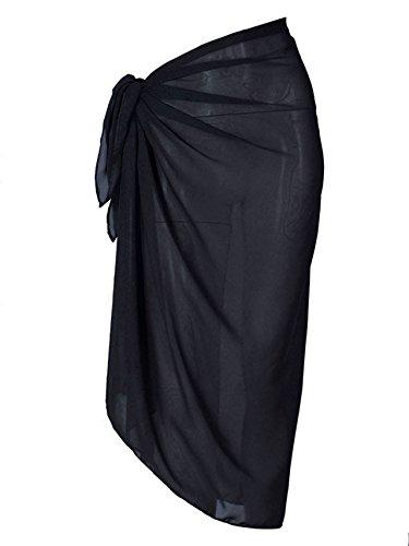 CHIC DIARY Damen Frauen Wickelrock Wickeltuch Sarong Pareo Strandtuch Bikini Cover up Schal Halstuch Strandkleider Sommerkleid aus Chiffon in Unifarben(Schwarz)