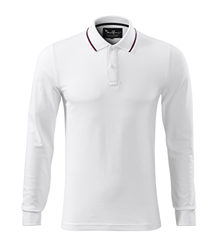Polo-Shirt f. Herren mit Kontraststreifen Quality Polohemd White