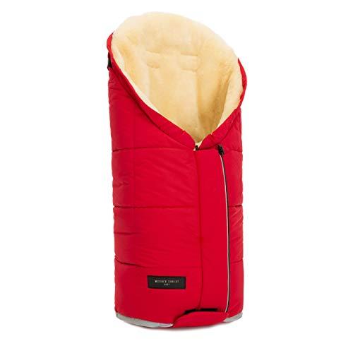 Lammfell Kinderwagen-Fußsack TULAVARIO von WERNER CHRIST BABY - Buggy Lammfellfußsack aus medizinischem Fell, als Krabbelmatte, Spieldecke verwendbar, in chili red (rot)