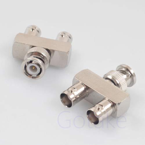 FidgetGear 2 Stück BNC-Stecker auf 2 weibliche RF Adapter Stecker Splitter 3-Wege Y Video -