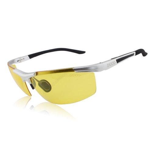 DUCO Herren Nachtsichtbrille Anti Glanz Fahren Brillen Kontrast Brille Nachtfahrbrille polarisierten 8530 (Silber)