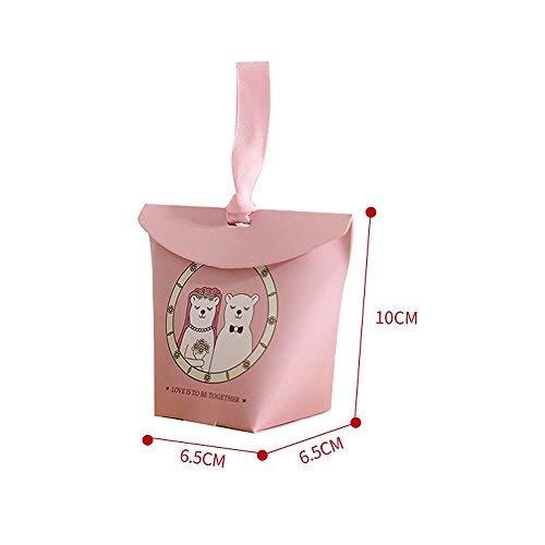 Lvcky 30 Stück Handtaschenform Hochzeit Süßigkeiten Box Schokolade Geschenk-Box mit Band Bonbonniere Party Geburtstag Dekoration Baby Dusche rot
