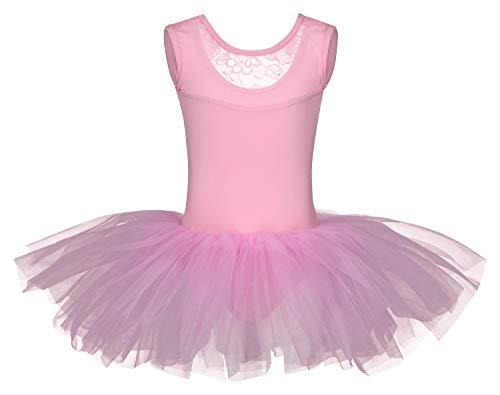 tanzmuster Kinder Ballett Tutu Lottie aus weicher Baumwolle mit Breiten Trägern und Spitzeneinsatz vorn in rosa, - Rosa Ballerina Kostüm
