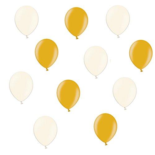 50 x Premium Luftballons je 25 Creme & Gold Metallic - ca. Ø 28cm - 50 Stück - Ballons als Deko, Party, Fest, Baby, Junge, Mädchen, Geburt, Hochzeit - für Helium geeignet - twist4® Creme-gold