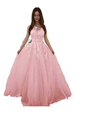 CAOQAO Damen Floral Formale Spitze Vintage Kurzarm schlank Hochzeit Maxi-Kleid Elegantes Abendkleid